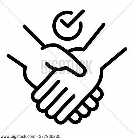 Frienship Handshake Icon. Outline Frienship Handshake Vector Icon For Web Design Isolated On White B