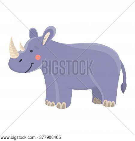 Vector Illustration Of A Cute Rhinoceros In Cartoon Hand Drawn Flat Style. A Funny Animal With A Big