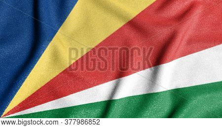 National Flag Of The Seychelles. The Main Symbol Of An Independent Country. Flag Of Seychelles.