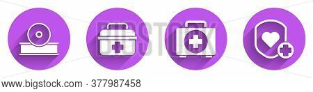 Set Otolaryngological Head Reflector, First Aid Kit, First Aid Kit And Shield And Heart Rate Icon Wi