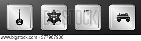 Set Banjo, Hexagram Sheriff, Tomahawk Axe And Wild West Covered Wagon Icon. Silver Square Button. Ve