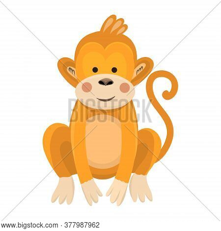 Vector Illustration Of A Cute Monkey In Flat Style. Cartoon Illustration Drawn For Children. Illustr