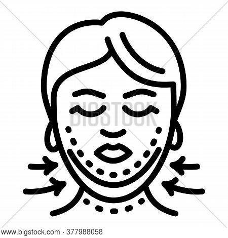Facial Correction Icon. Outline Facial Correction Vector Icon For Web Design Isolated On White Backg