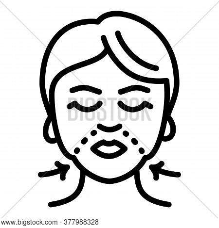 Face Lifting Treatment Icon. Outline Face Lifting Treatment Vector Icon For Web Design Isolated On W