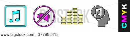 Set Music Note, Tone, Speaker Mute, Music Equalizer And Musical Note In Human Head Icon. Vector
