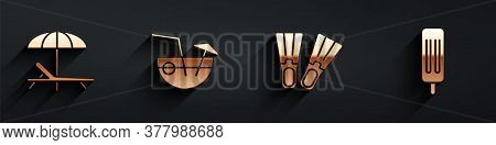 Set Sunbed And Umbrella, Coconut Cocktail, Rubber Flippers And Ice Cream Icon With Long Shadow. Vect
