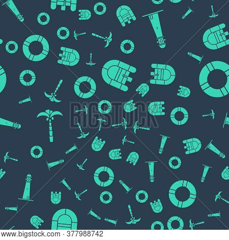 Set Rafting Boat, Lighthouse, Tropical Palm Tree And Lifebuoy On Seamless Pattern. Vector