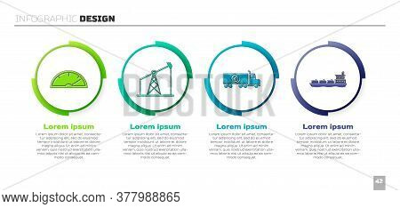 Set Speedometer, Oil Pump Or Pump Jack, Tanker Truck And Oil Tanker Ship. Business Infographic Templ