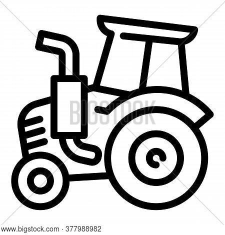 Old Tractor Icon. Outline Old Tractor Vector Icon For Web Design Isolated On White Background