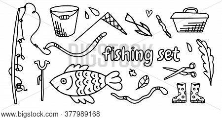 Vector Set Of Doodle Illustrations Fishing Set. Fishing Rods, Hooks, Worms, Bucket, Fish. Cartoon Li