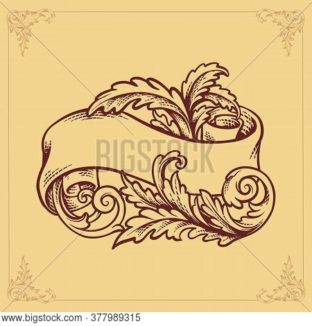 Ribbon Design Flourish Label Banner Engraving For Text And Design