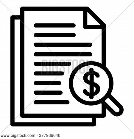 Tax Finance Report Icon. Outline Tax Finance Report Vector Icon For Web Design Isolated On White Bac
