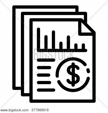 Accounting Paper Icon. Outline Accounting Paper Vector Icon For Web Design Isolated On White Backgro