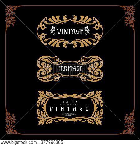 Set Badge Art Nouveau Decorative Style Vector Vintage