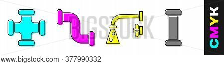 Set Industry Metallic Pipe, Industry Metallic Pipe, Water Tap And Industry Metallic Pipe Icon. Vecto
