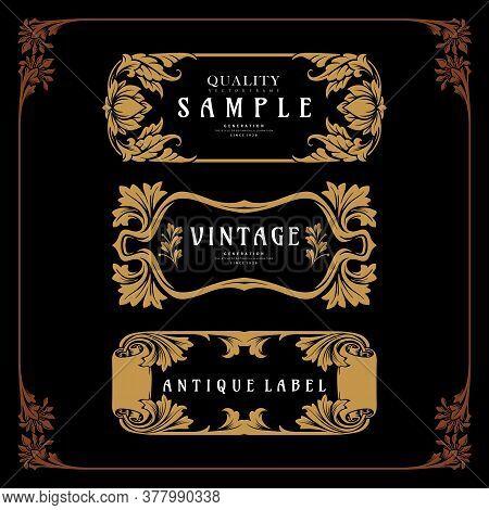 Set Frame Badge Art Nouveau Decorative Design Vector Vintage Emblem