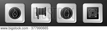 Set Fire Flame, Fire Hose Reel, Water Drop And Fire Hose Cabinet Icon. Silver Square Button. Vector