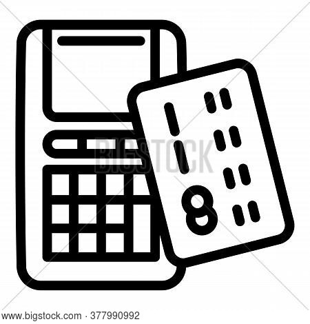 Credit Card Terminal Icon. Outline Credit Card Terminal Vector Icon For Web Design Isolated On White