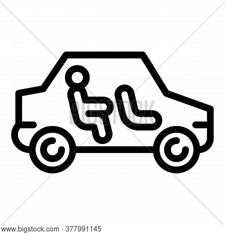 Autonomous Car Icon. Outline Autonomous Car Vector Icon For Web Design Isolated On White Background