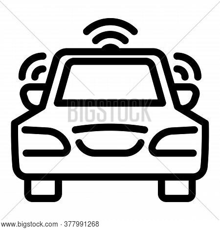 Car Wireless Icon. Outline Car Wireless Vector Icon For Web Design Isolated On White Background