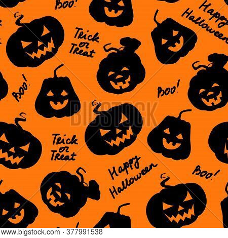 Halloween Seamless Pattern. Pumpkins Black Silhouette With Carved Scary Smiling Faces And Lettering.