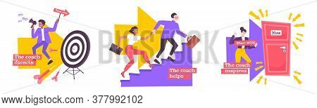 Coaching Flat Compositions Set Of Coaches Helping People To Achieve  Quick Success In Career Raising