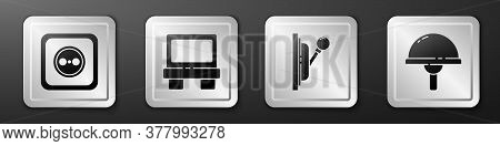Set Electrical Outlet, Fuse, Electrical Panel And Light Emitting Diode Icon. Silver Square Button. V
