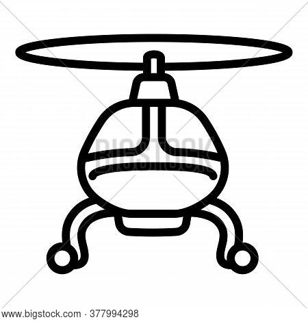 Flying Helicopter Icon. Outline Flying Helicopter Vector Icon For Web Design Isolated On White Backg