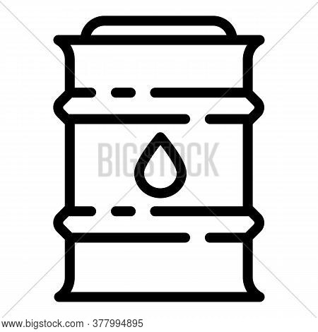 Oil Barrel Icon. Outline Oil Barrel Vector Icon For Web Design Isolated On White Background
