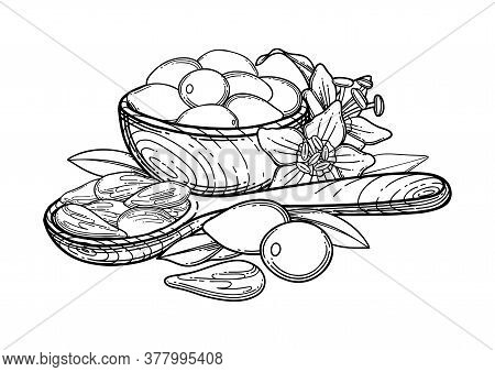 Graphic Composition Of Goji Berries, Flowers, Leaves, Wooden Bowl And Spoon.