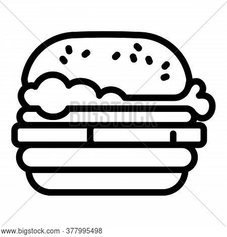American Burger Icon. Outline American Burger Vector Icon For Web Design Isolated On White Backgroun