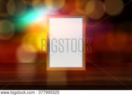 3D render of a blank picture frame on a defocussed bokeh lights background