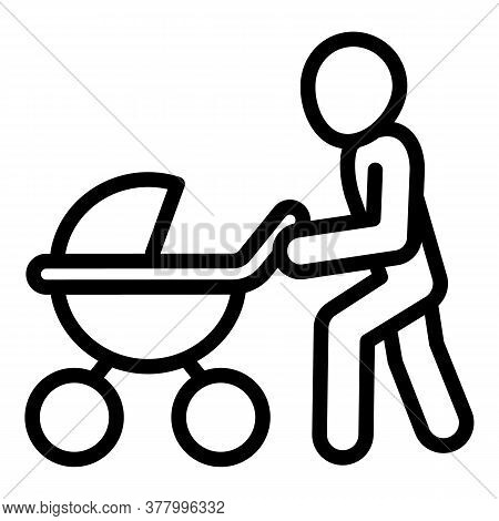 Man With Pram Icon. Outline Man With Pram Vector Icon For Web Design Isolated On White Background