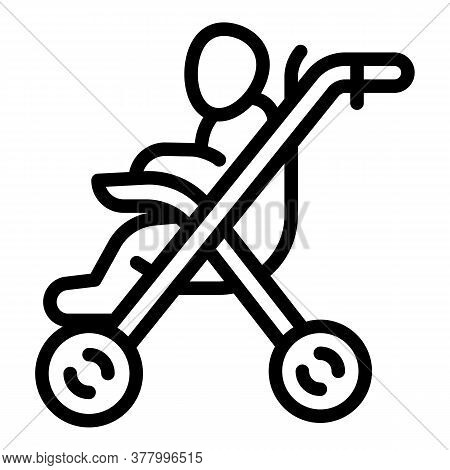 Stroller Pram Icon. Outline Stroller Pram Vector Icon For Web Design Isolated On White Background