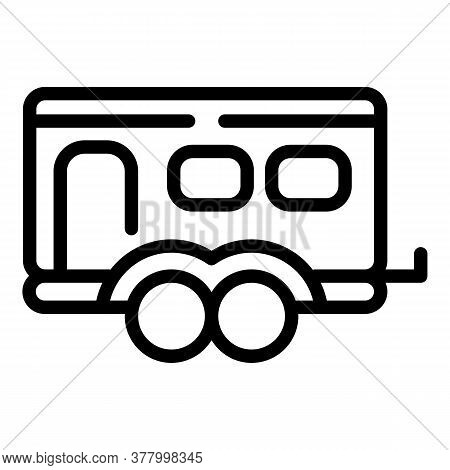Rv Trailer Icon. Outline Rv Trailer Vector Icon For Web Design Isolated On White Background