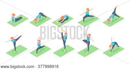 Woman Or Girl Yoga Poses Exercise On Yoga Mat, Isometric Icons. Woman Body Balance And Stretch, Spor