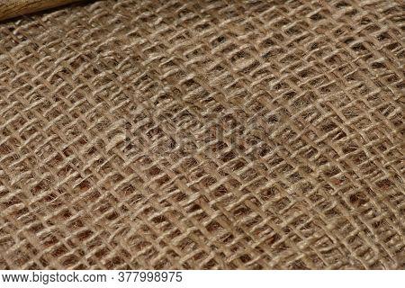 Burlap Macro Photography. Closeup Of A Burlap Texture.