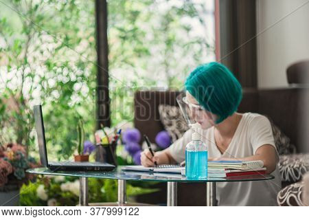 Asian Woman Work Form Home, New Normal Social Distance Learning Online Education. Young Asian Woman