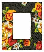 Black rectangle sequins frame with colorful floral designs poster
