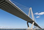 Arthur Ravenel Bridge also know as the Cooper River Bridge spans 1,546 feet between the eastern and western diamond towers making it North America's longest cable-stayed span. poster
