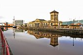 Reflections in the water at Leith Docks Edinburgh Scotland poster