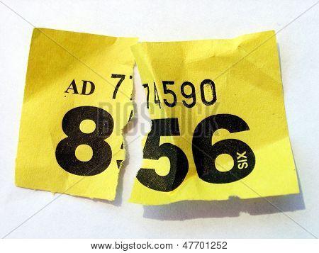 Torn ripped loosing raffle ticket