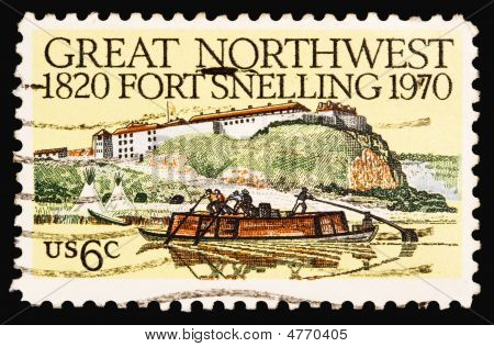 A 1970 issued 6 cent United States postage stamp showing 150th anniversary of Fort Snelling. poster