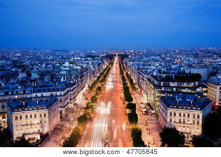 View on Avenue des Champs-Elysees from Arc de Triomphe at night Paris, France