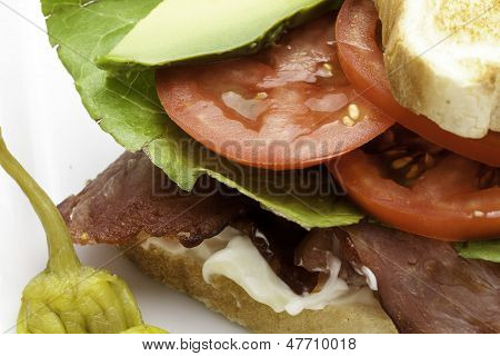 Bacon Lettuce and Tomato Close Up