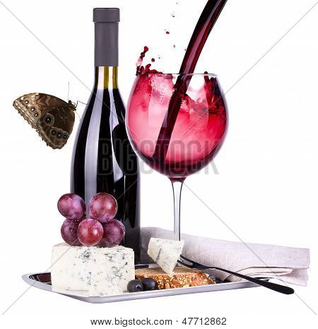 Grapes  Butterfly And Wine Glass
