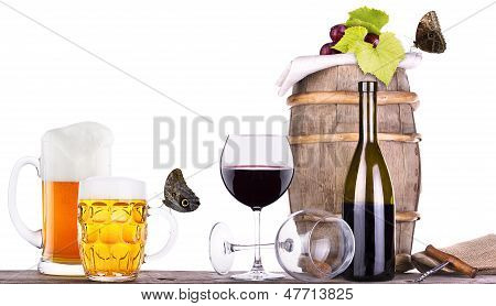 Grapes On A Barrel With Corkscrew, Beer And Butterfly