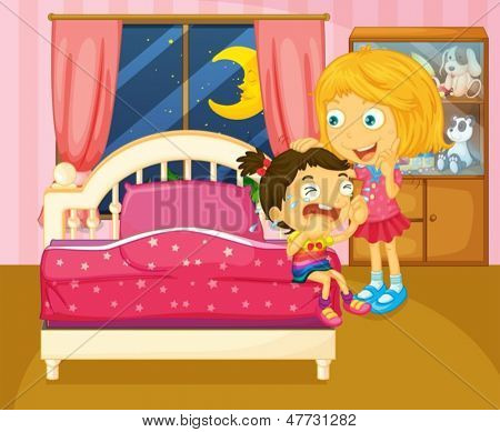Illustration of a little girl crying beside her sister inside the room