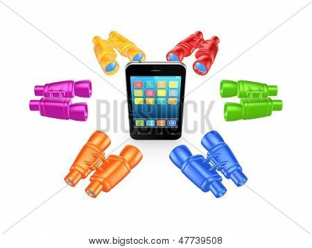 Colorful binoculars around mobile phone.Isolated on white.3d rendered. poster