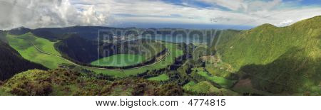 Landscape view of Sete Cidades area showing several lagoons: Rasa Santiago Caldeira Seca do Alferes and Blue. Azores San Miguel Portugal poster